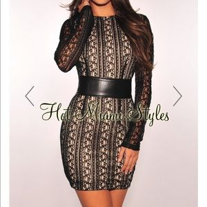 Dresses & Skirts - Black Lace Nude Illusion Corset Belted Dress